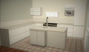 Cuisine céramique marbré conception 3D