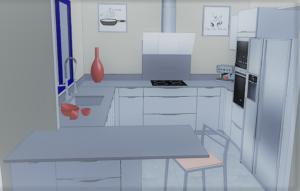 cuisine plan granit gris conception 3D